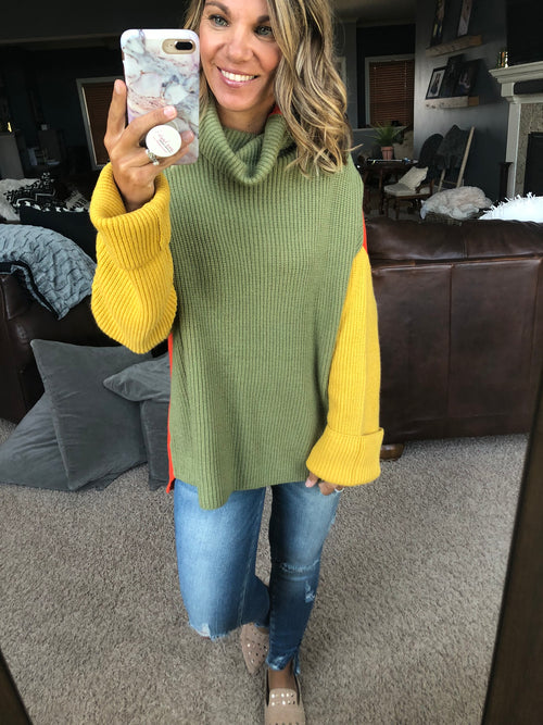Retro Vibes Color Block Reversible Turtle Neck Sweater