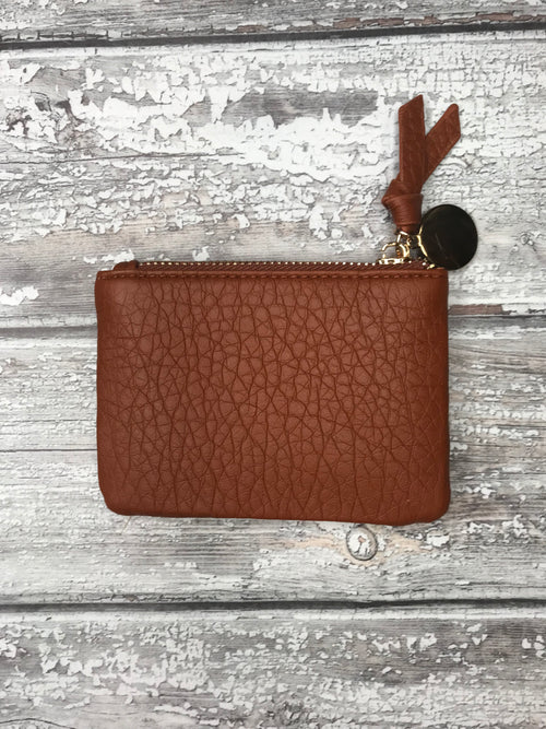 Brown Mini Purse with Metallic Coin