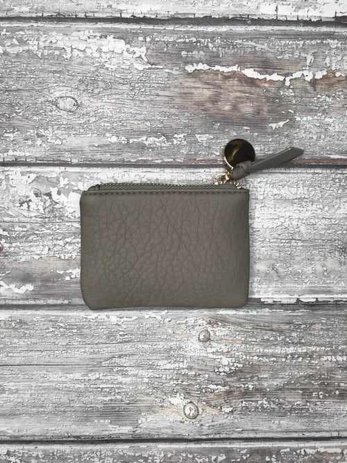 Grey Mini Purse with Metallic Coin