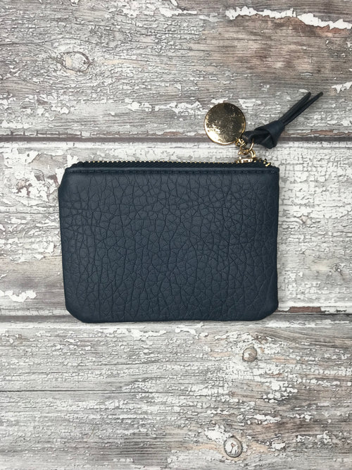 Navy Mini Purse with Metallic Coin