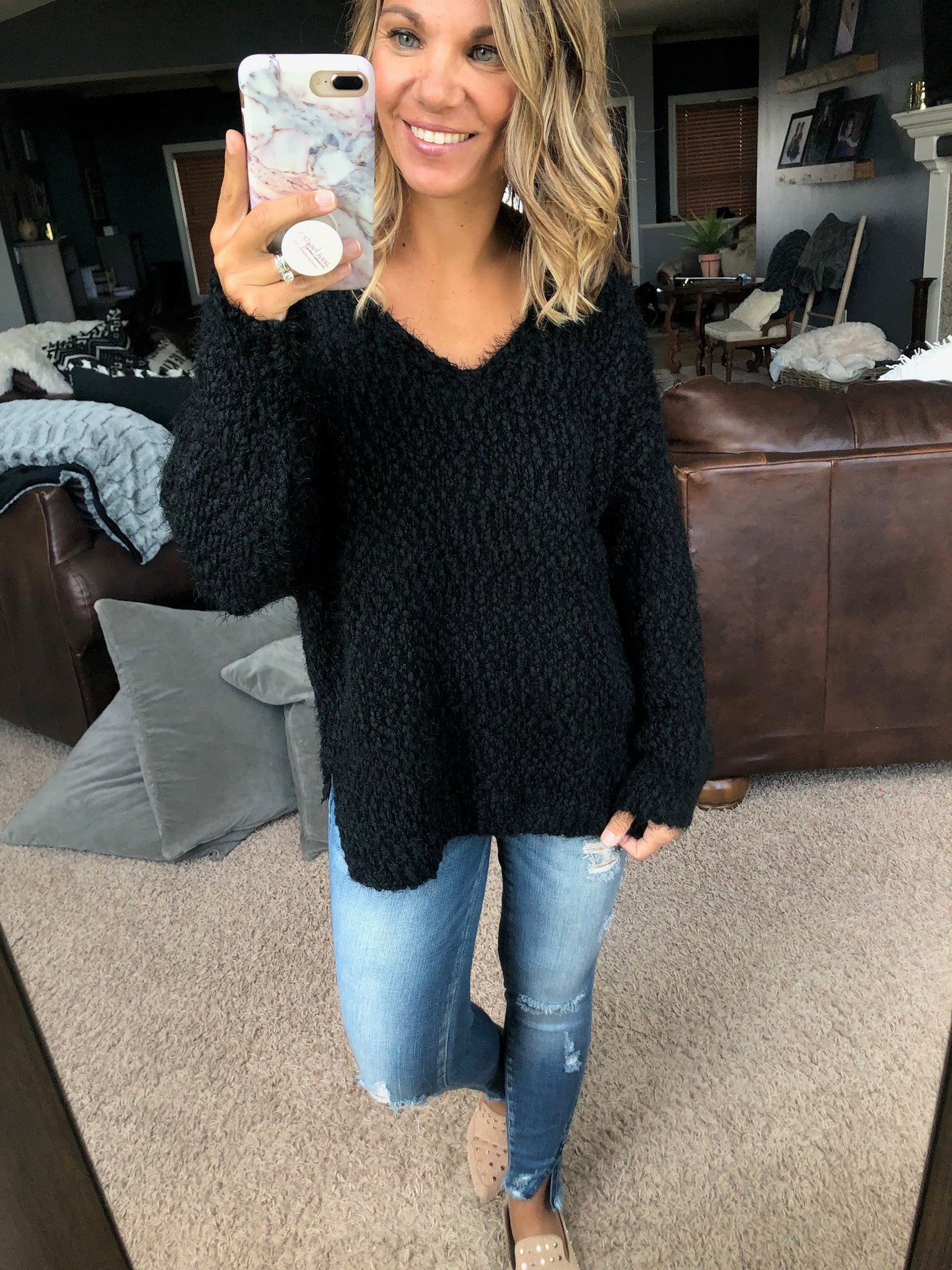 Perfect Impressions Popcorn V Neck Sweater- Black