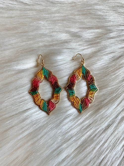 Gypsy Soul Multi Colored String Wrapped Earring