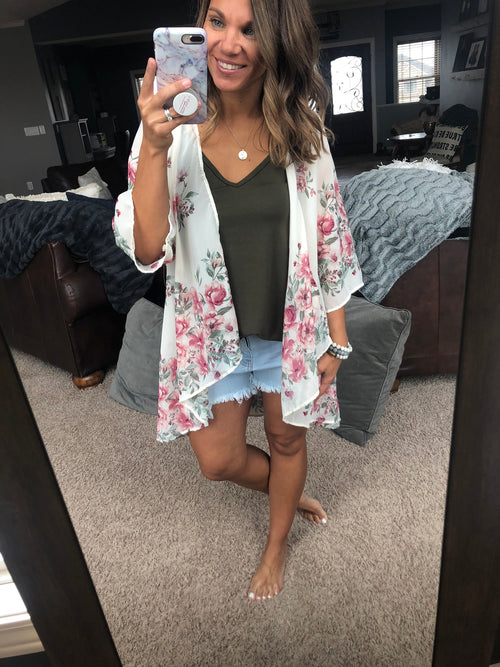 A Million Reasons Why Ivory Floral Kimono