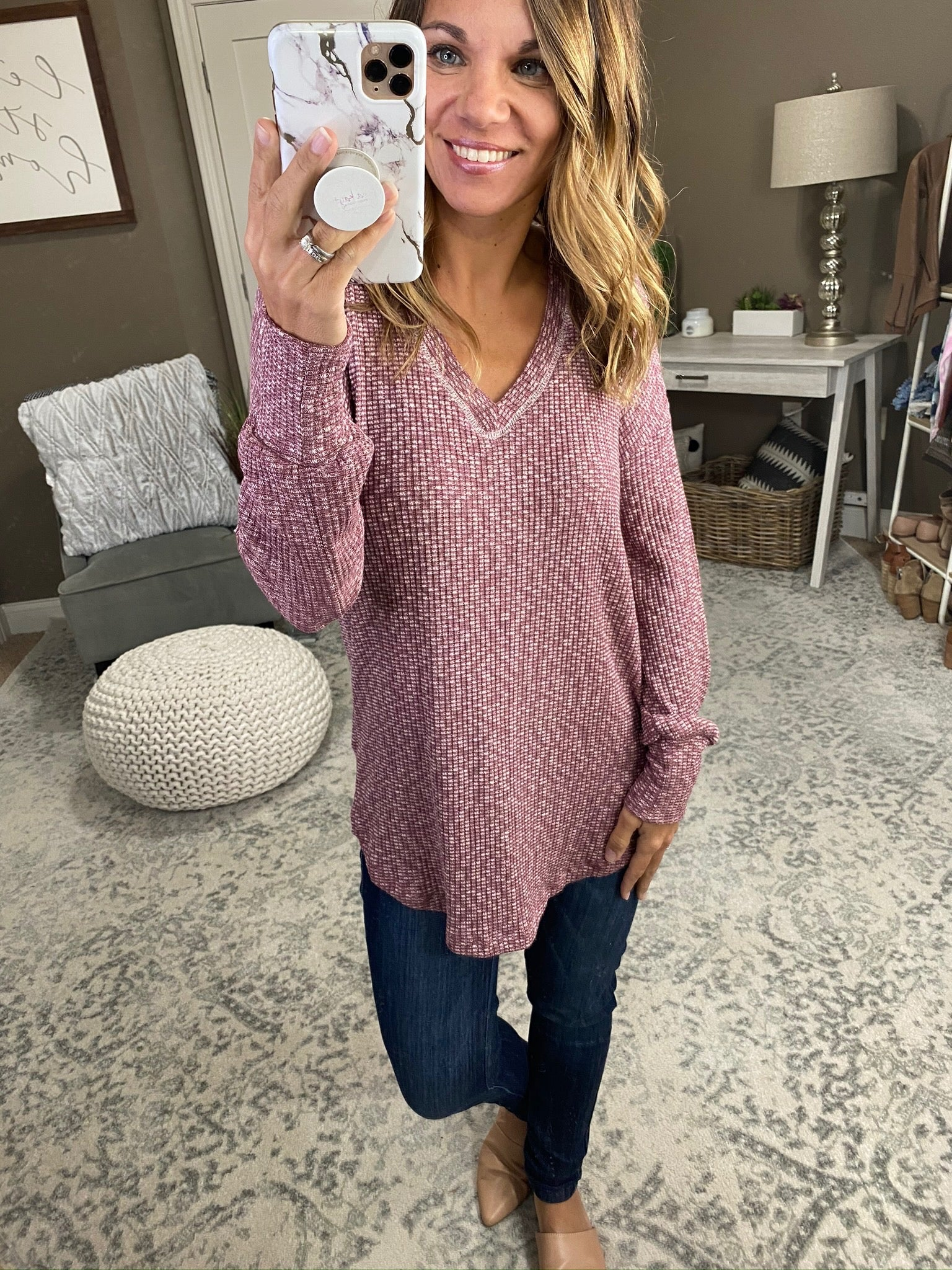 Let Her Sing Heathered Mauve V-Neck Waffle Long Sleeve