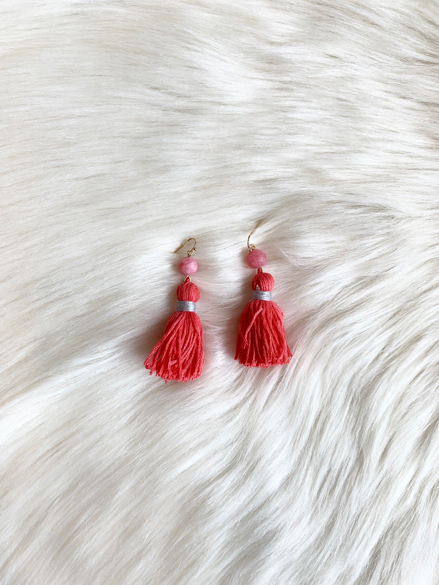 Crush On You Coral Fringe Earrings