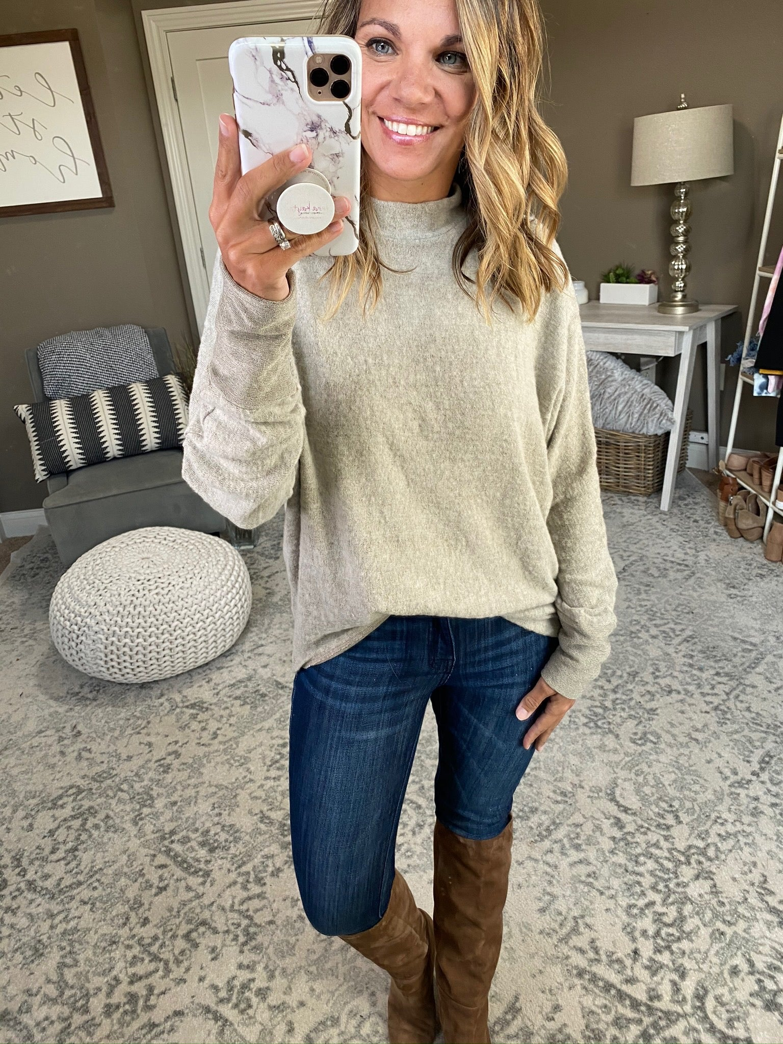 Adore You Oatmeal Brushed Hacci Dolman Sweater