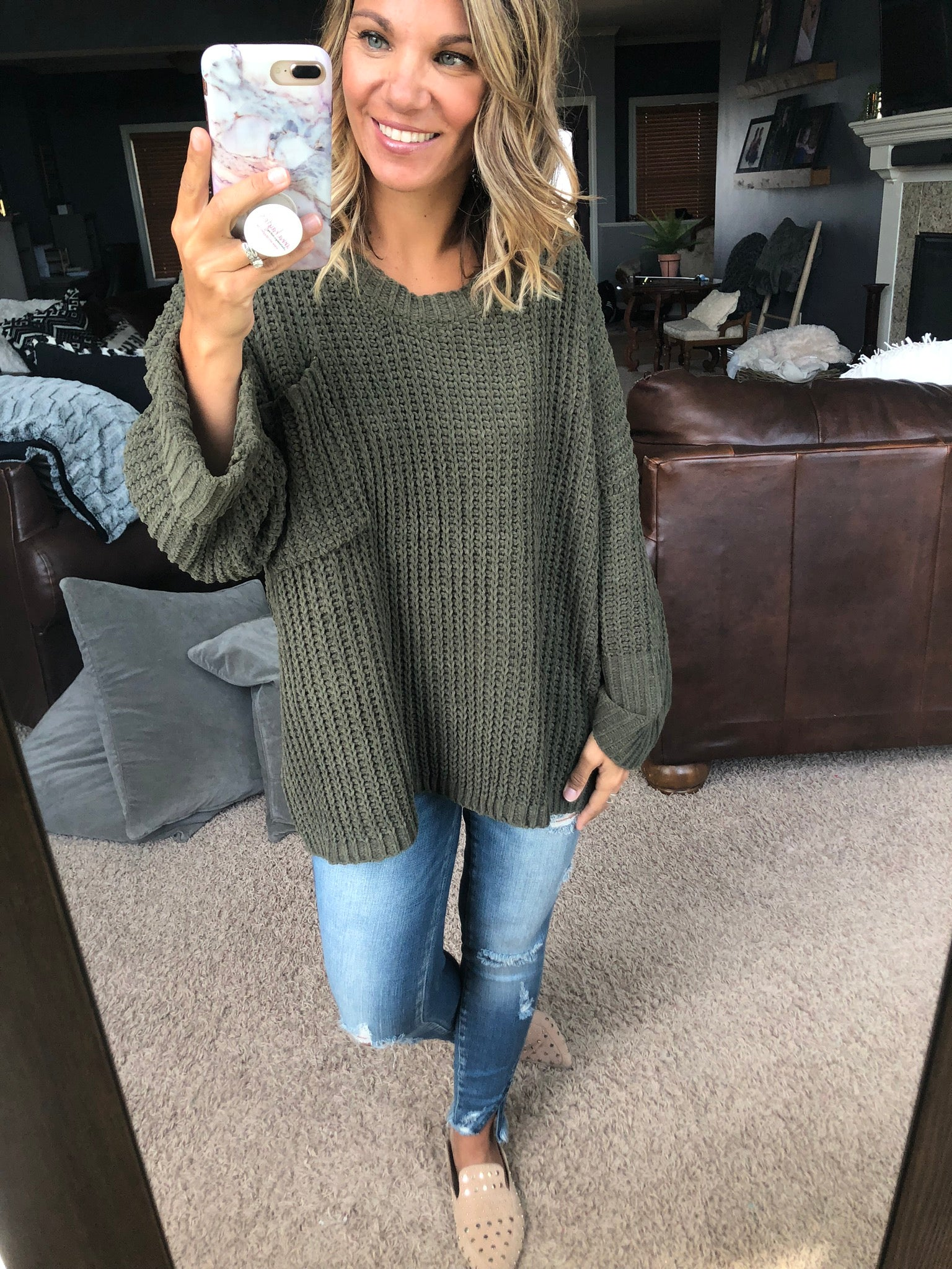 More To Me Chenille Oversized Sweater- Olive