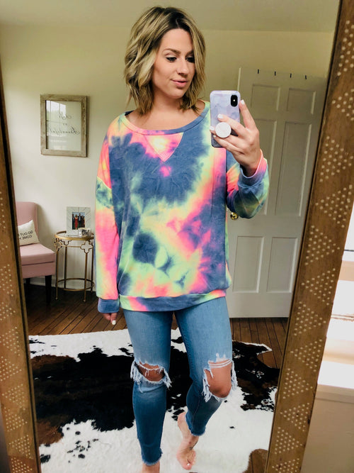 Found Her Freedom Dark Neon Tie Dye Sweatshirt