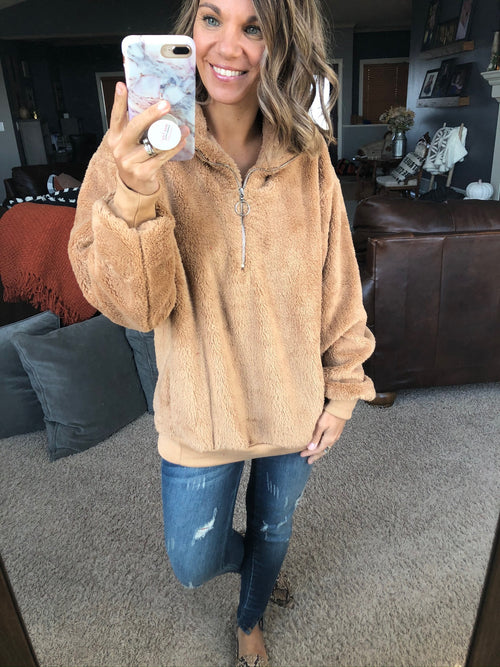 Feels Like Home Tan 1/2 Zip Sherpa Jacket