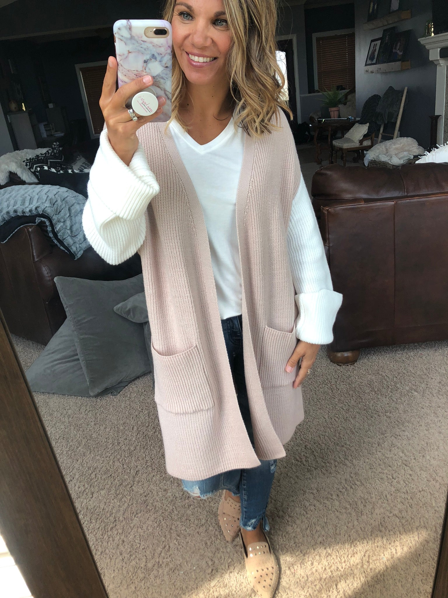 New Thoughts Color Block Oversized Cardigan- Taupe, Oatmeal, Ivory