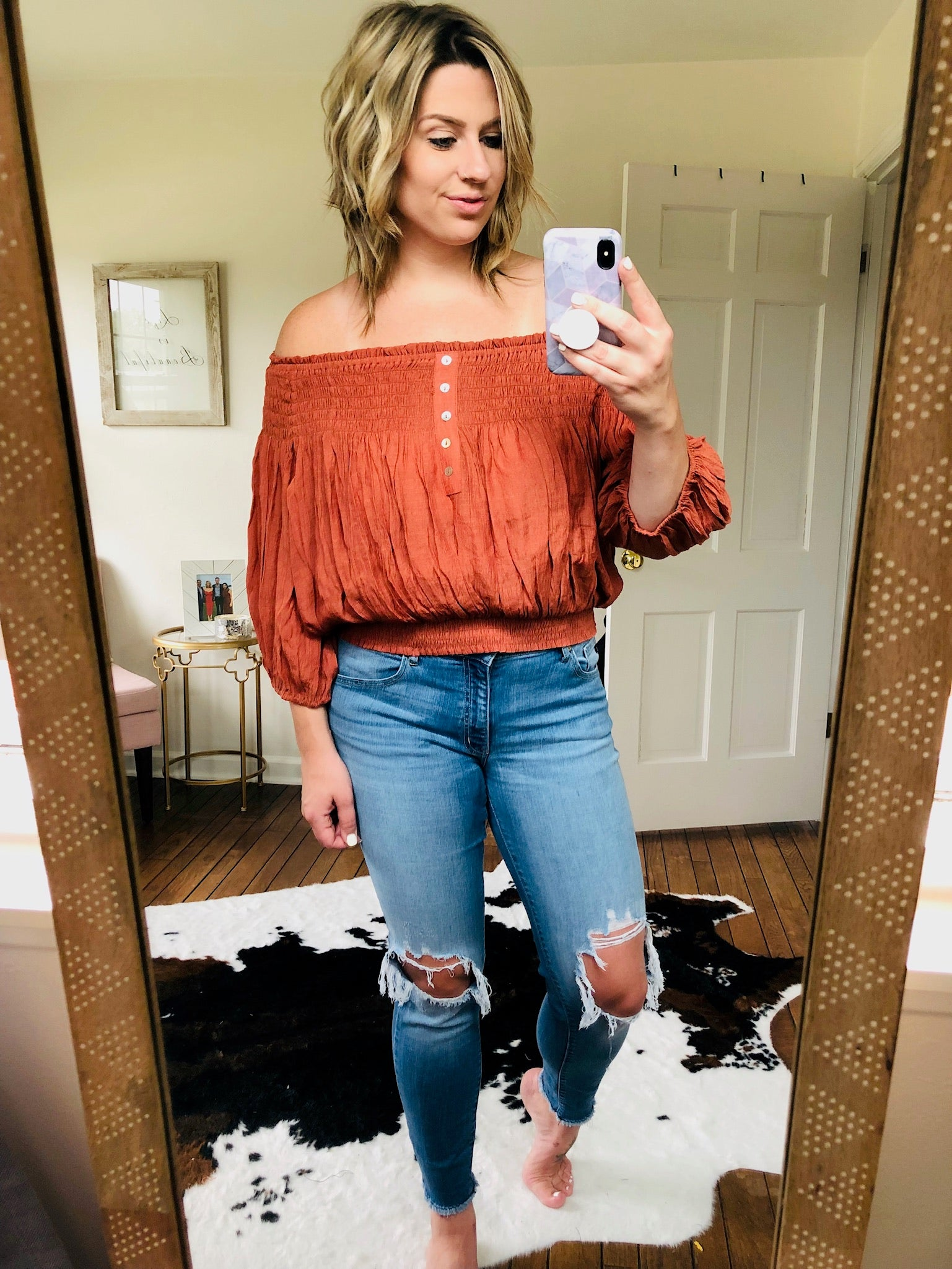 Renegades Rust Pleated Off Shoulder Crop Top w. Buttons