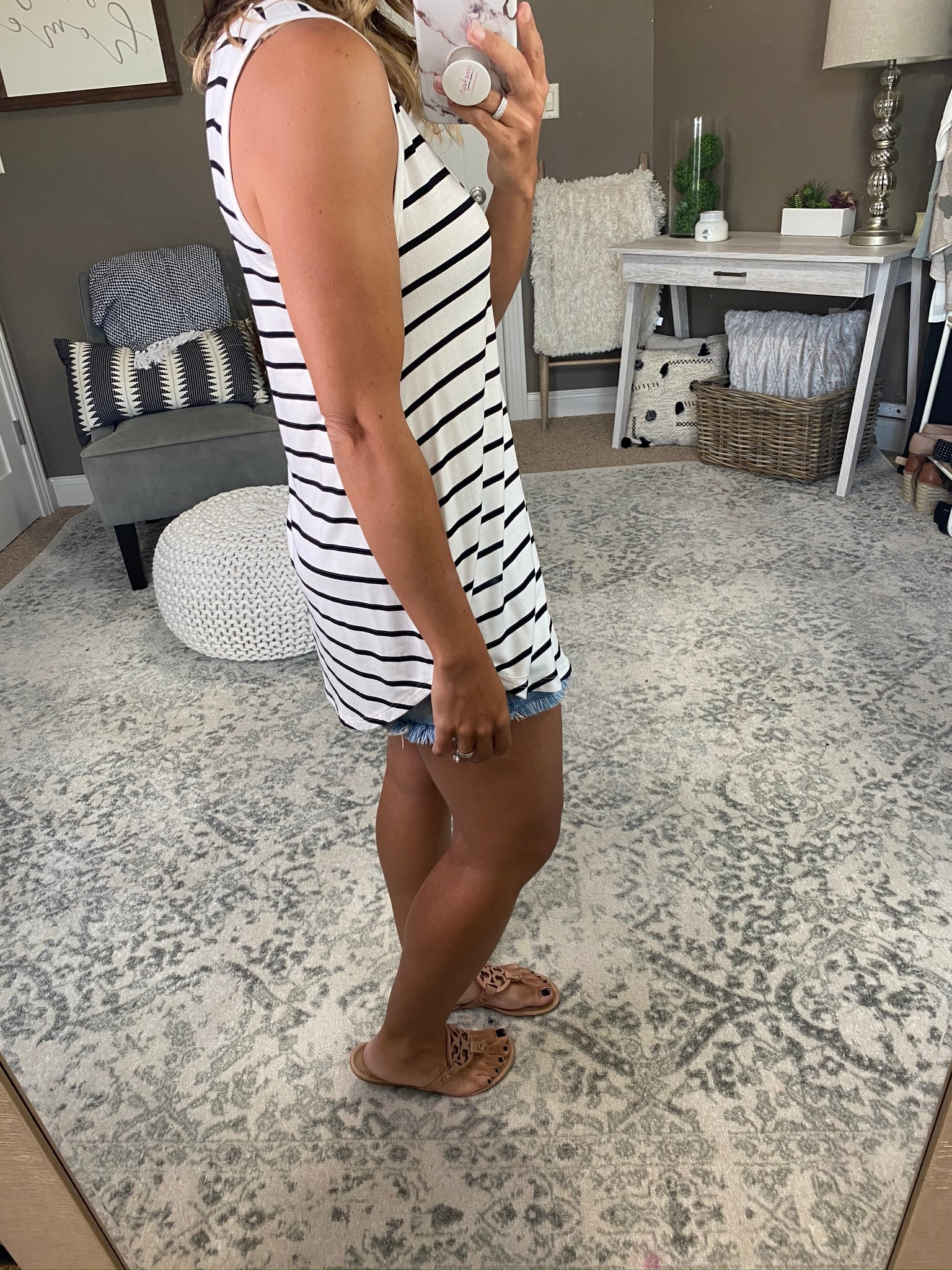Keep Up Striped Scoop Neck Tunic Tank-White With Black Stripes