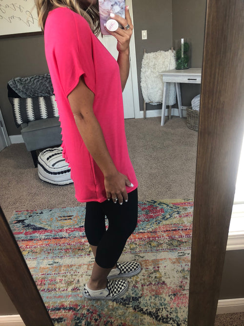 Torn With The Best Fuchsia Tee with Strappy Back