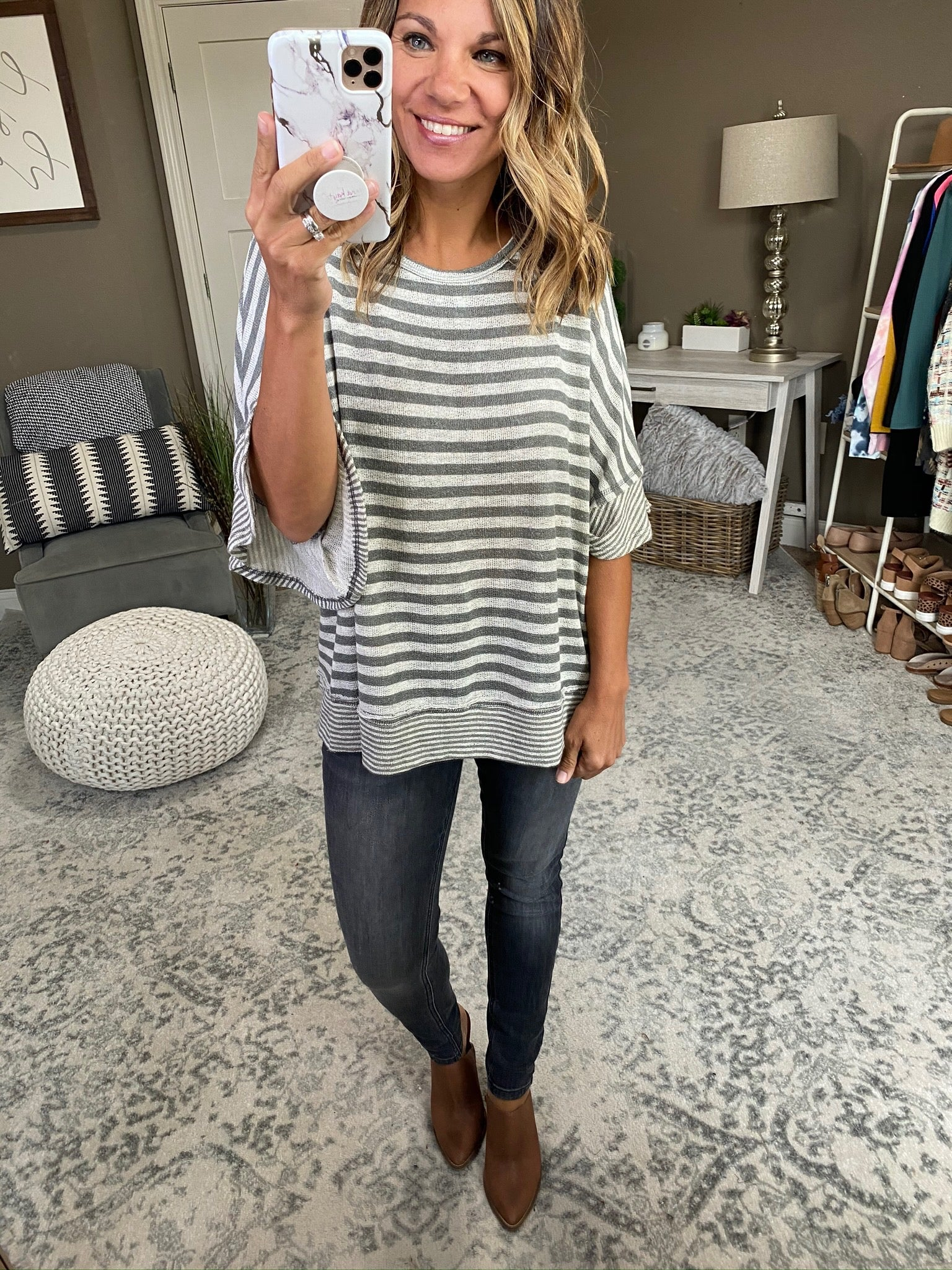 Back To Free Grey & Ivory Striped Knit Short Sleeve Dolman with Ruffle Sleeve