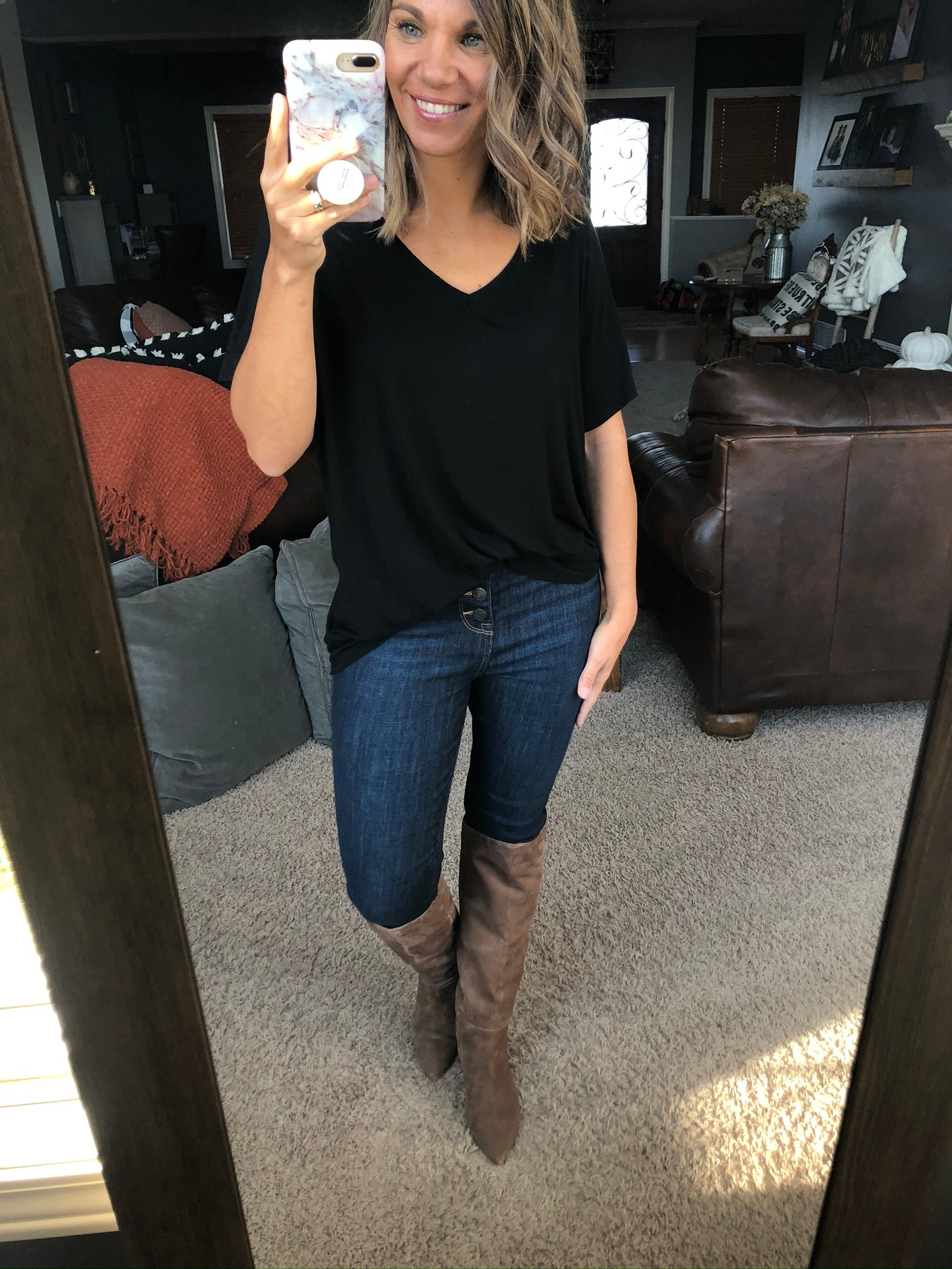 On My Way 5 Button High Rise Dark Wash Skinny Jeans