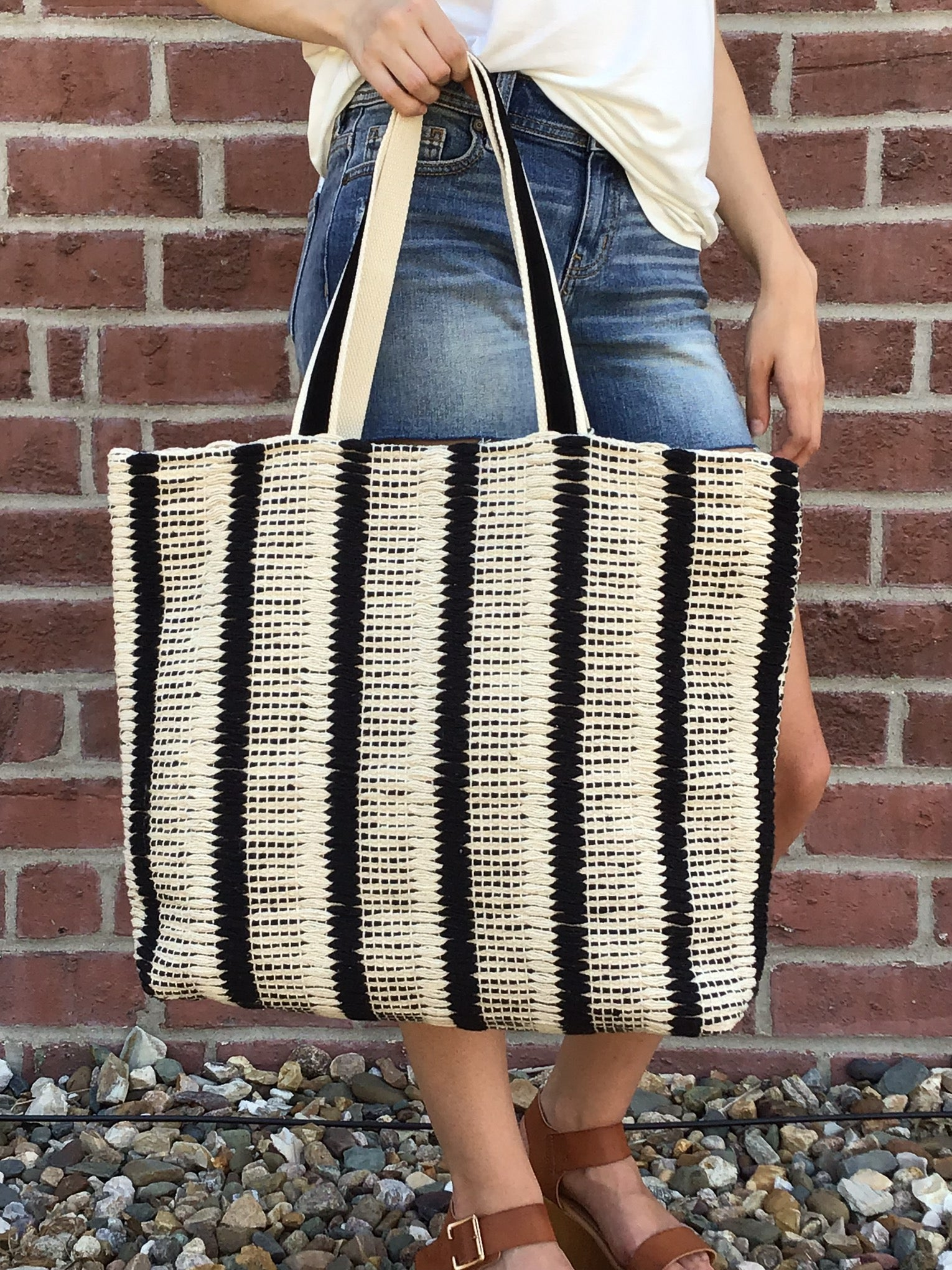 Secret Escape Black & White Woven Cotton Large Tote