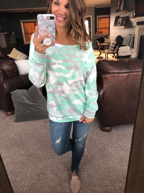 In Plain Sight Mint and Ivory Camo Boatneck Long Sleeve