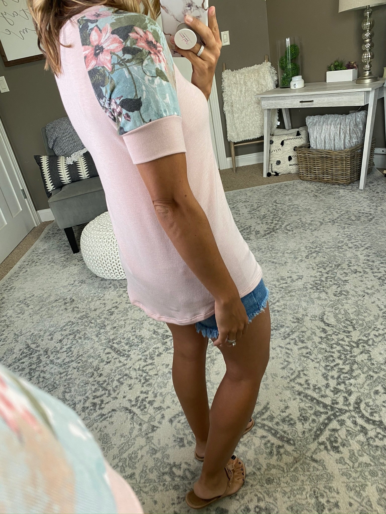 Off My Mind Pink Tee with Floral Sleeve and Neckline Detailing