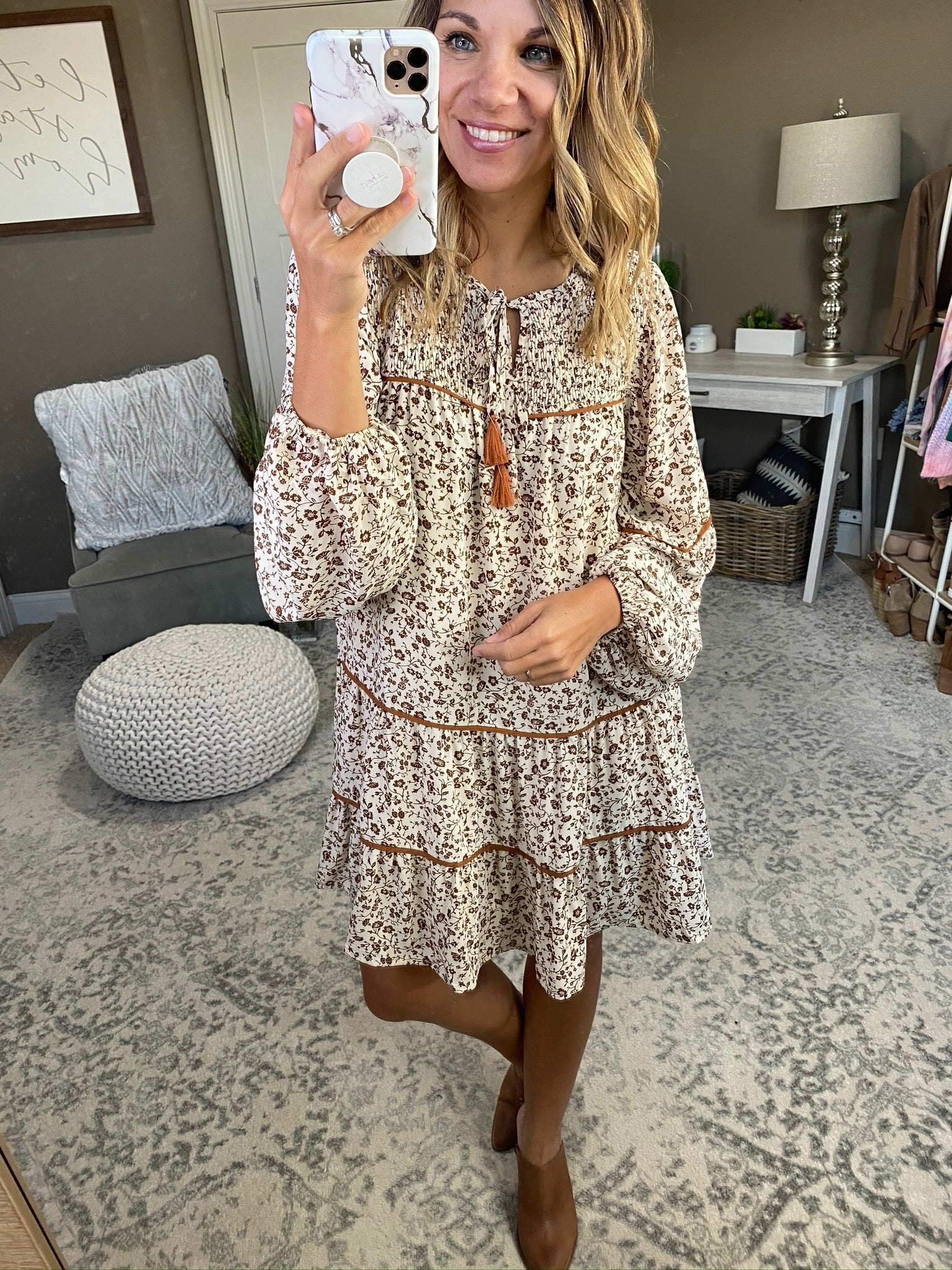 Dreamcatcher Taupe Floral Boho Dress