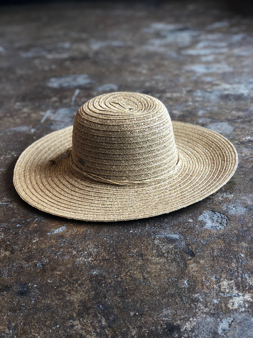 By the Beach Wide Brim Hat w/ Bow Tie on Back