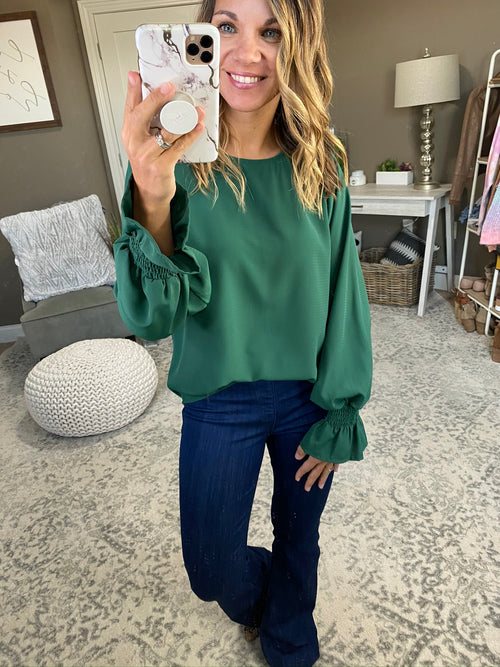 Pleased To Meet You Long Sleeve Blouse with Ruffle Cuff- Multiple Options