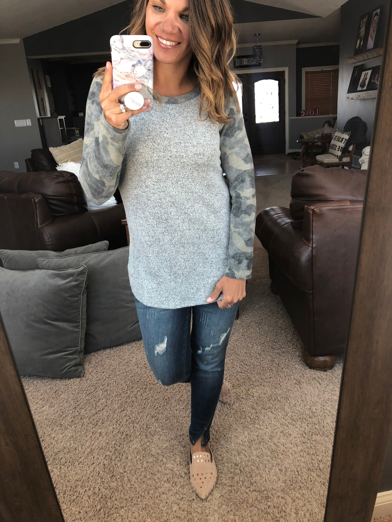 Better Than Ever Grey and Camo Brushed Fleece Long Sleeve