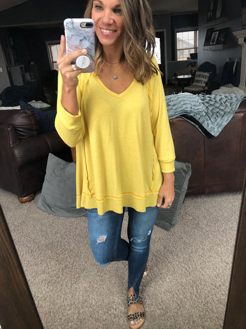 All Shook Up Mustard Waffle 3/4 Sleeve V- Neck Top
