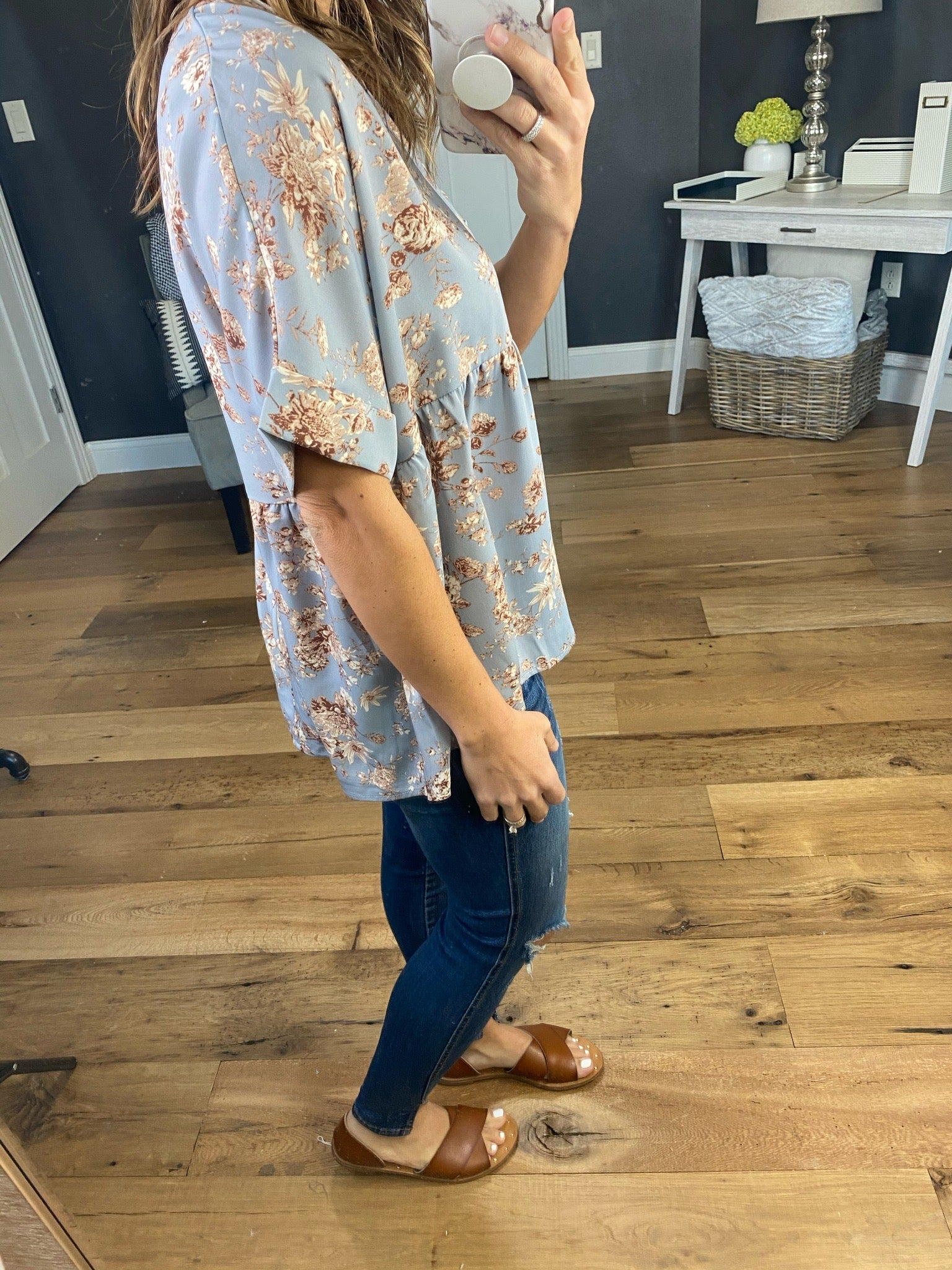 Keep Going Floral Babydoll V-Neck Tee with Cuffed Sleeve - Multiple Options
