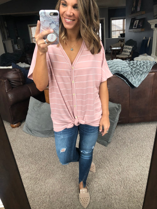 Waiting For Tonight Pink & White Oversized Striped Tee