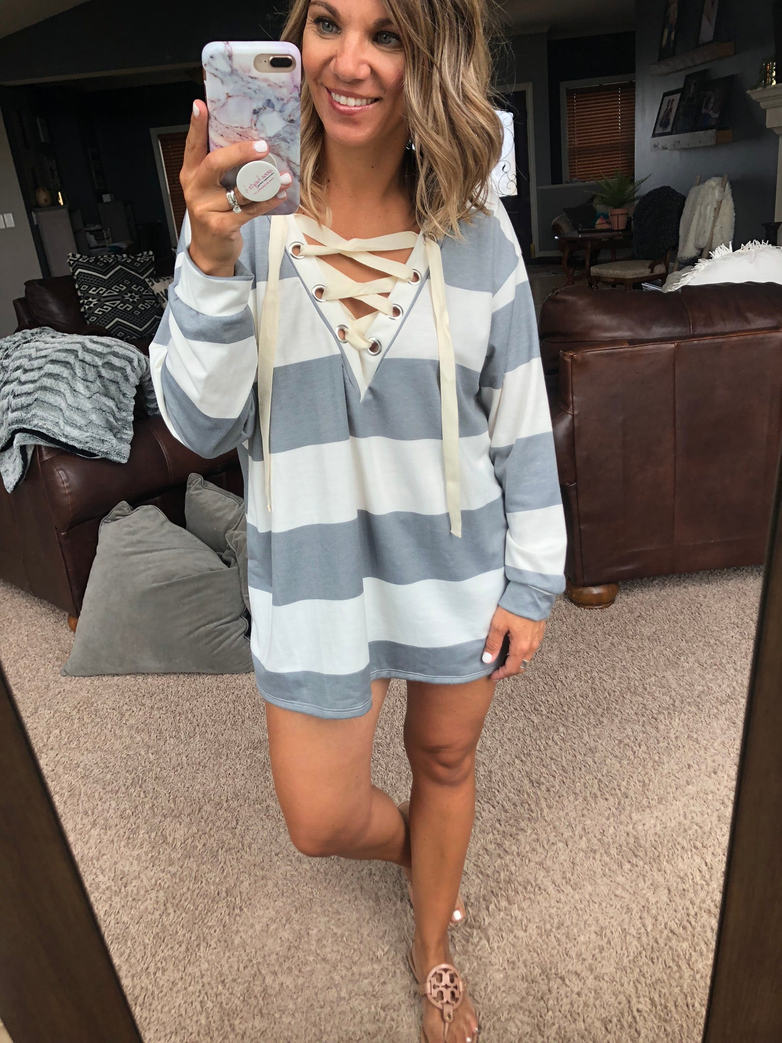 Southbound Striped Lace Up Long Sleeve- Heather Grey & Ivory