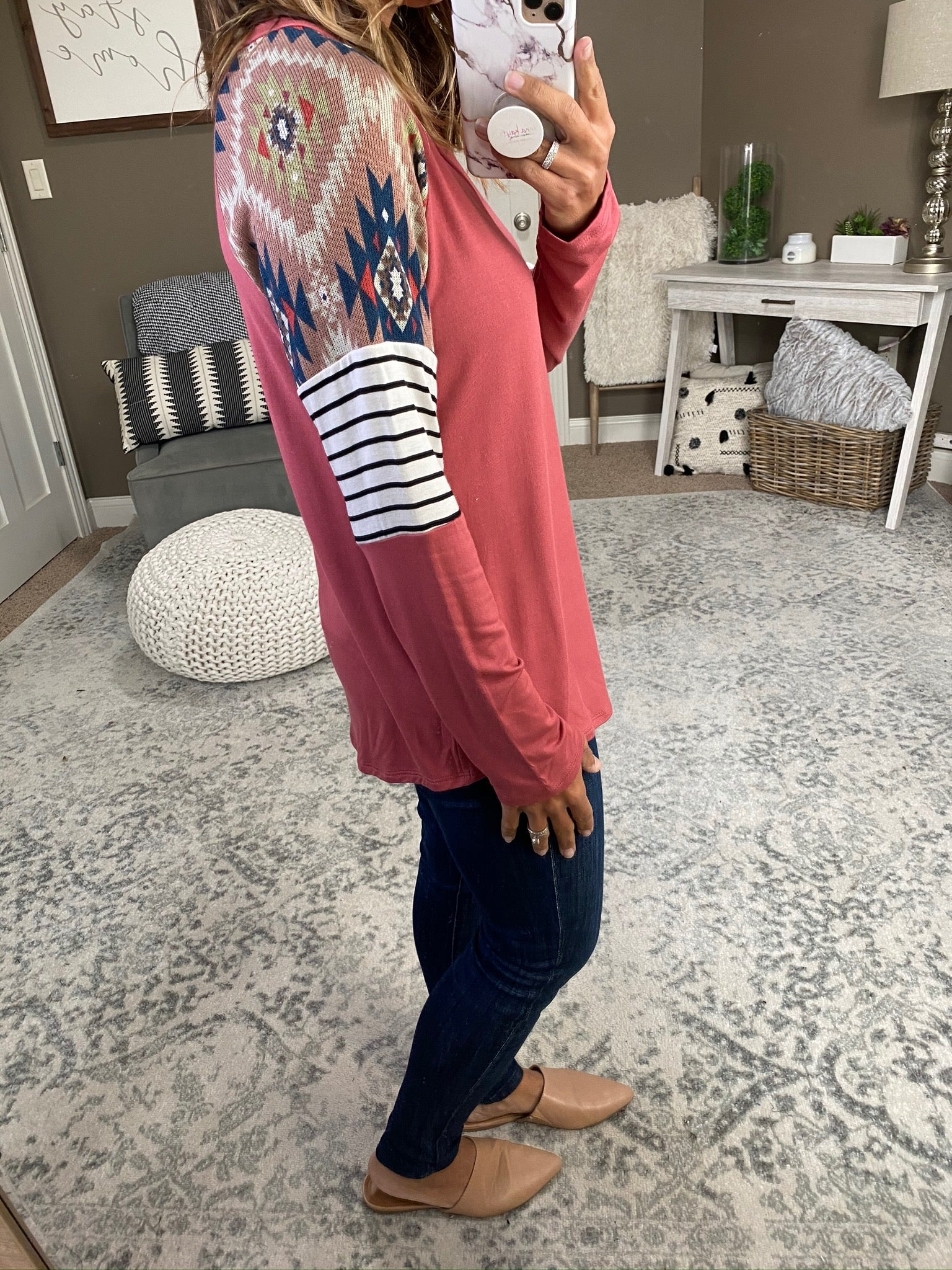 Wildfire Mauve Vneck with Striped, & Western Patterned Colorblock Sleeves
