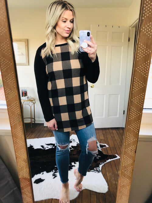 Sleigh Ride In The Snow Cream And Black Plaid Tunic Length Long Sleeve
