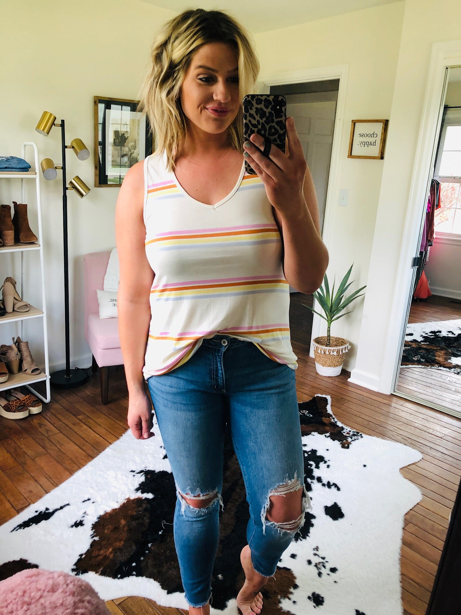 Made Me Love This Striped V Neck Tank- Ivory, Pink, Brick, Yellow, Blue