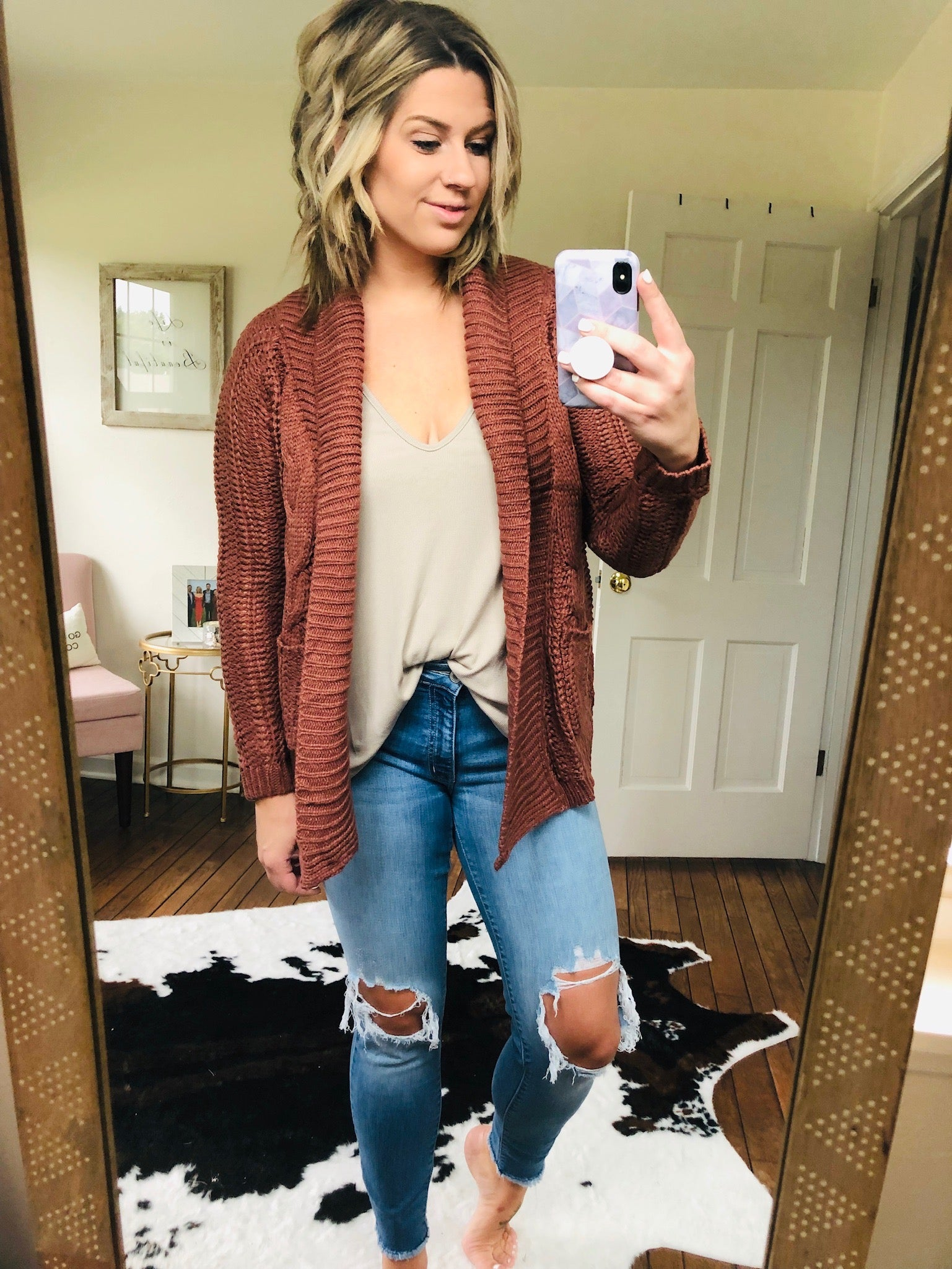 Getting Cozy Braided Brick Cardigan