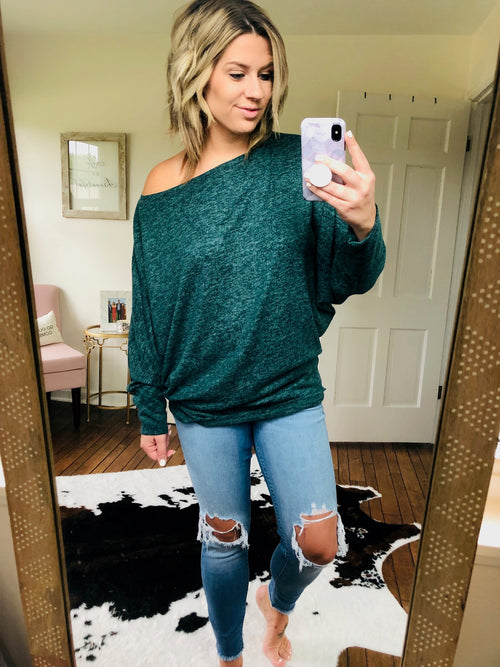 In My Own Mind Emerald Speckled Off Shoulder Curvy Top