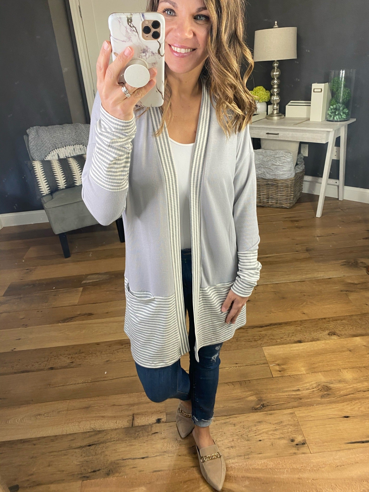 On The Job Grey Open Front Cardi with Striped Details