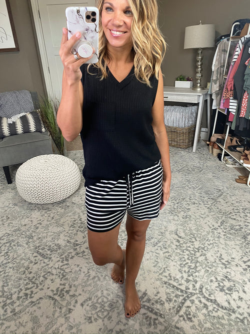 Room Key Black and Ivory Striped Jersey Shorts