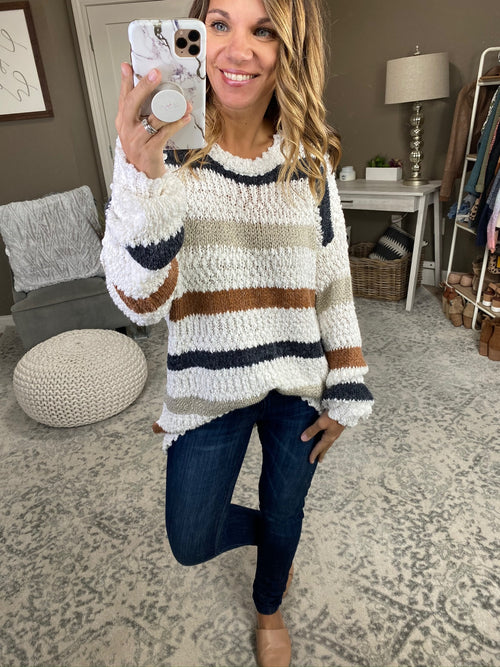 I Feel Glorious Ivory Popcorn Tunic Sweater with Taupe and Black Stripes