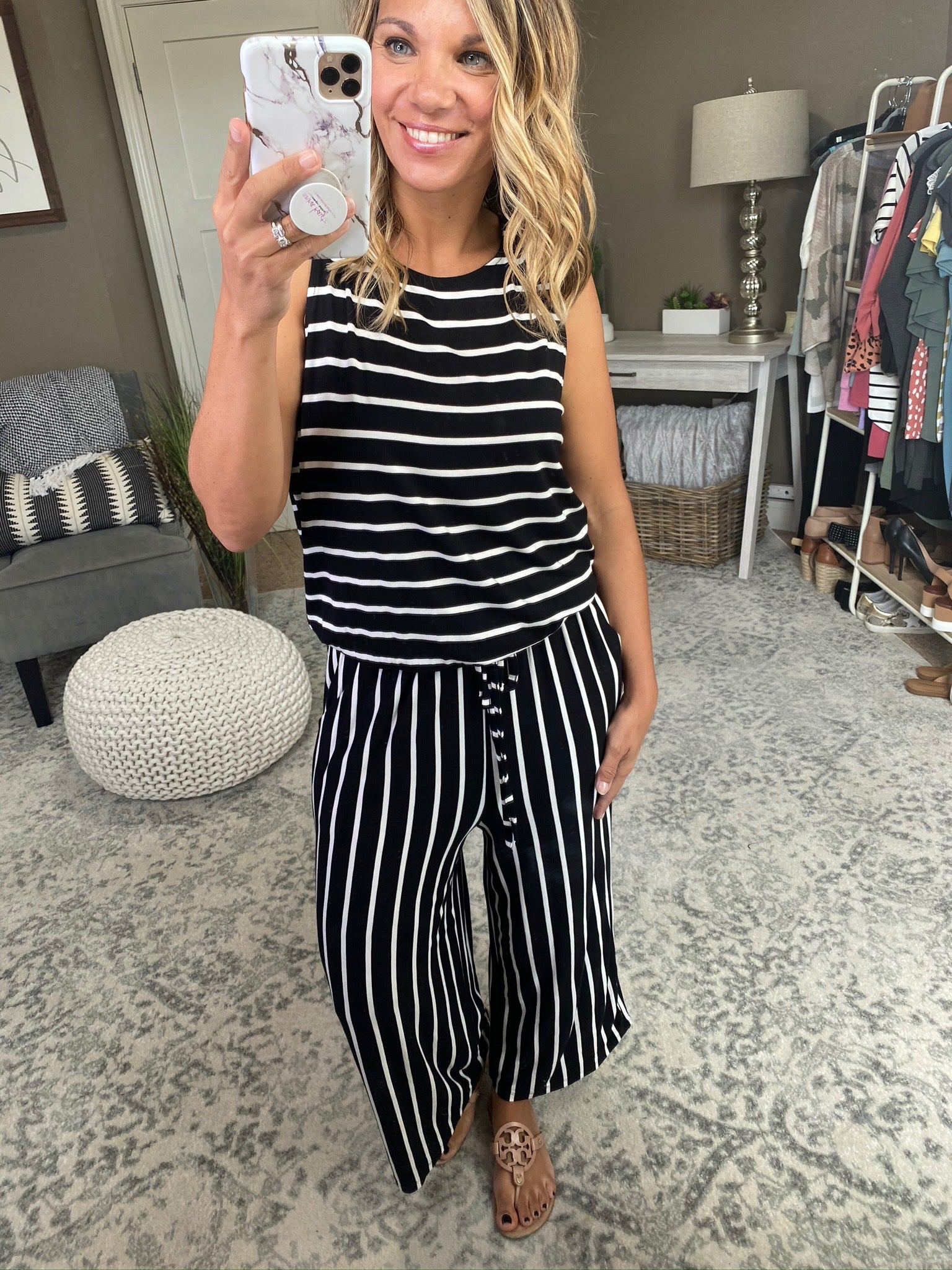 Hard To Forget Stripe Tank Cropped Wide Leg Jumpsuit with Elastic Waist- Multiple Options