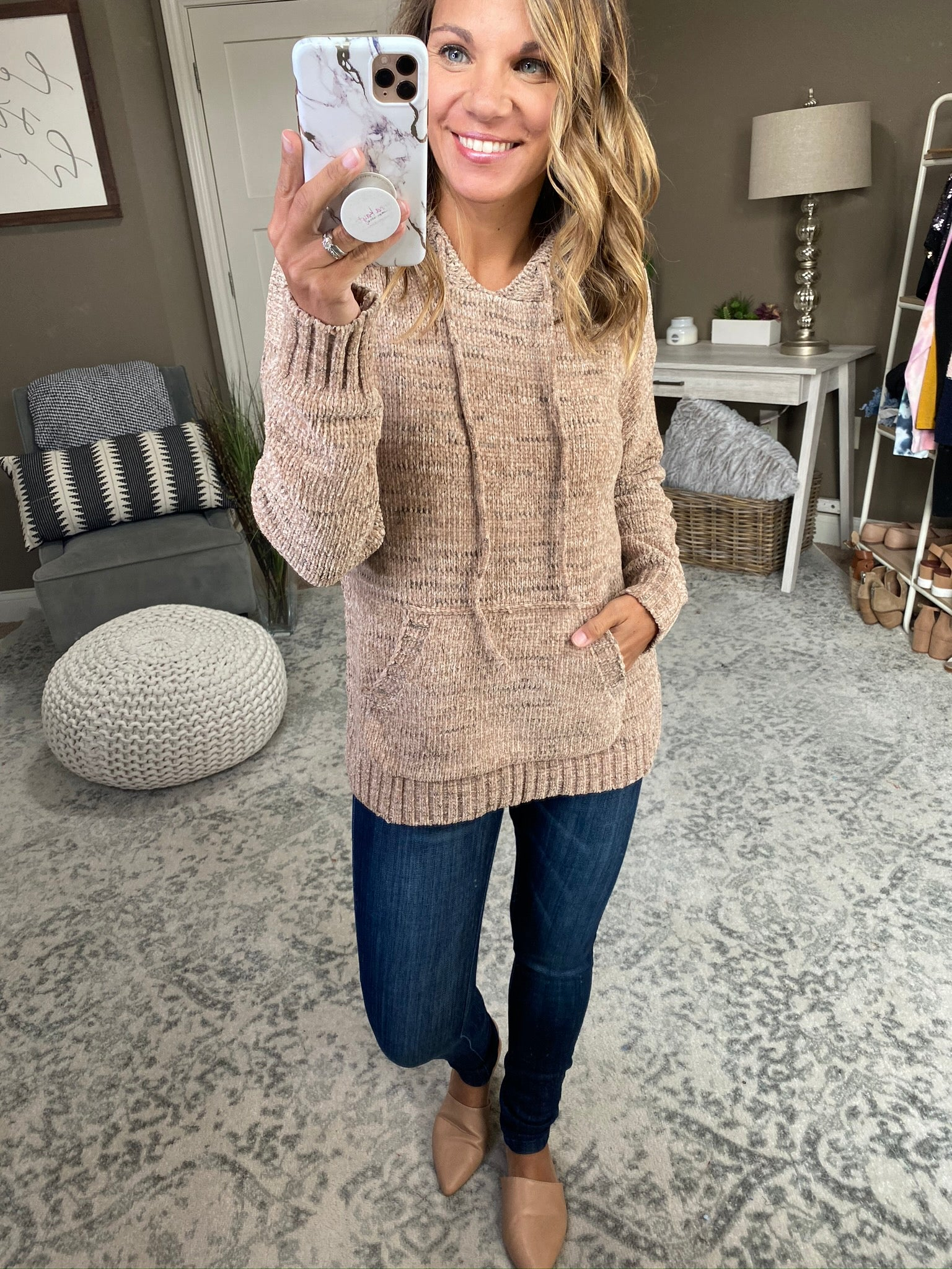A Crazy Beautiful Feeling Speckled Taupe Chenille Hoodie