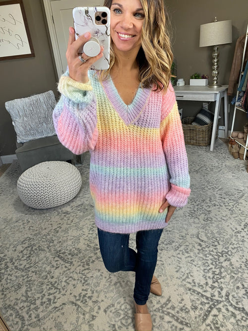 Get A Good Start Rainbow Mix V-Neck Tunic Sweater