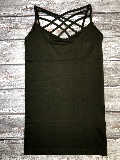 Must Have Criss Cross Tank Plus - Grey