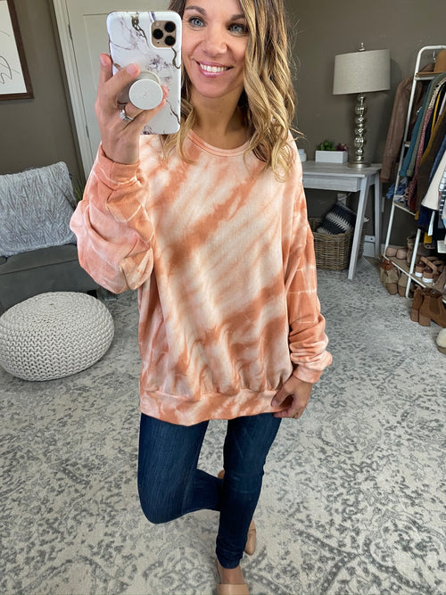 No Closing Time Sandstone Tie Dye Crew Sweatshirt with Split Hem