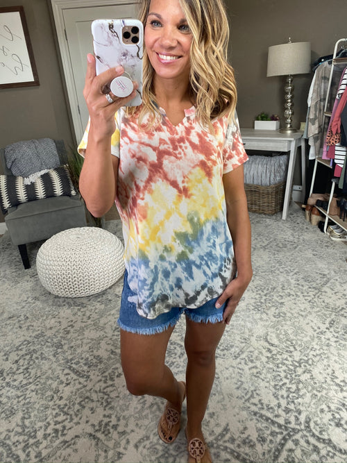 Miss What I Had Vintage Wash Tie Dye Split Neck Scoop Hem Tee