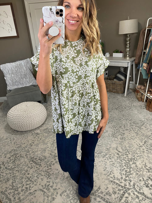 Fields Of Dreams Olive and Ivory Floral Babydoll Tee