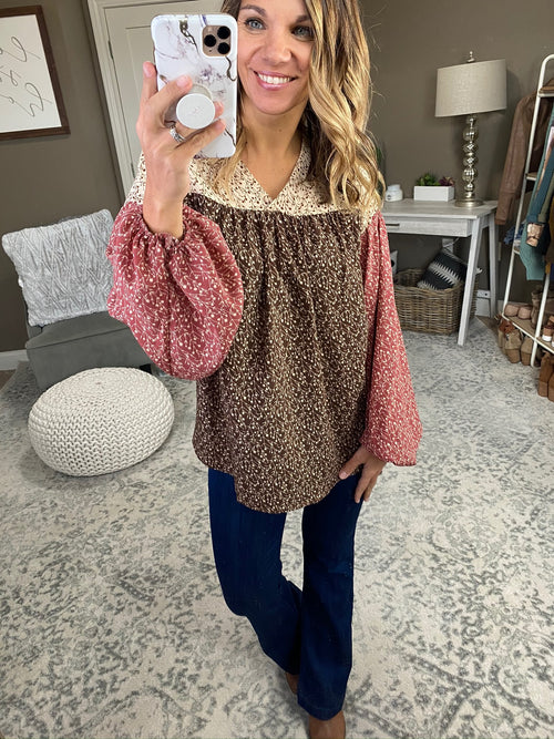 Still Miss You Mocha Mix Floral Boho Blouse