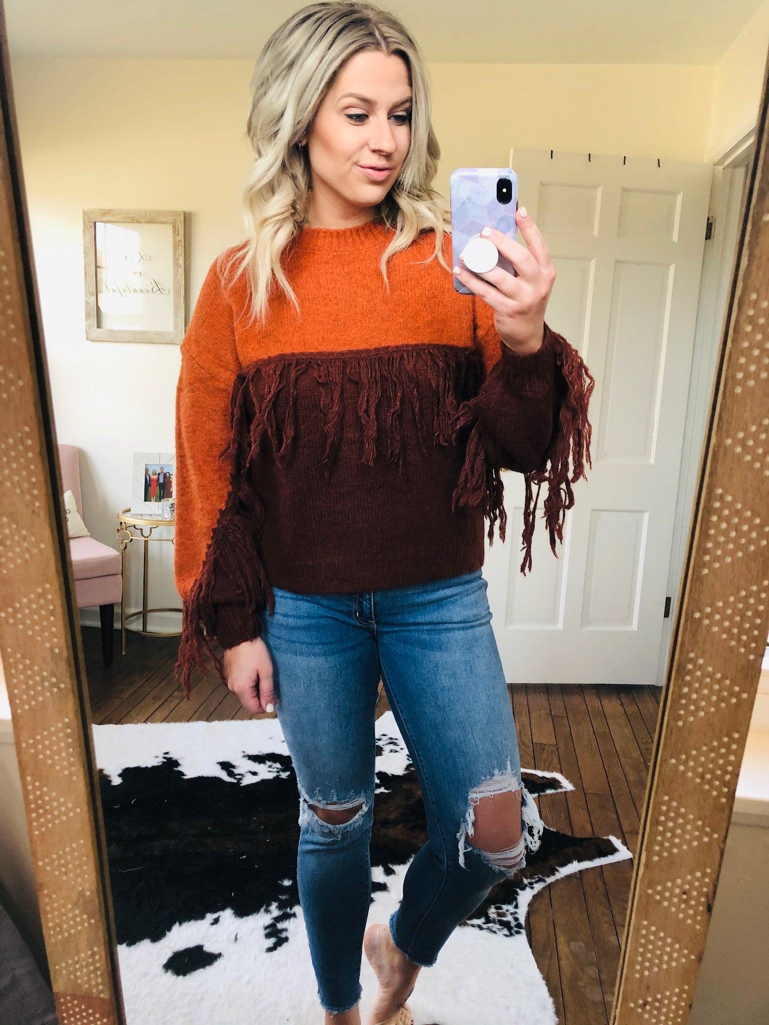 Take A Chance Color Block Fringe Sweater