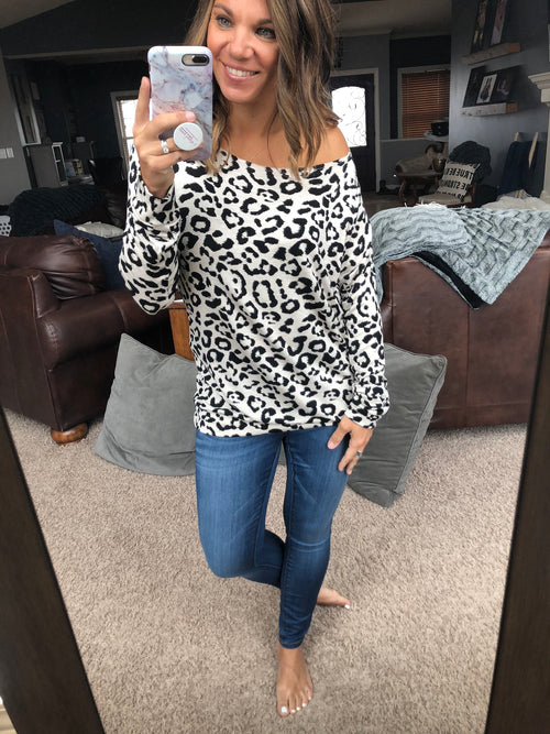 Holding You Close Cream & Leopard Print Banded Long Sleeve