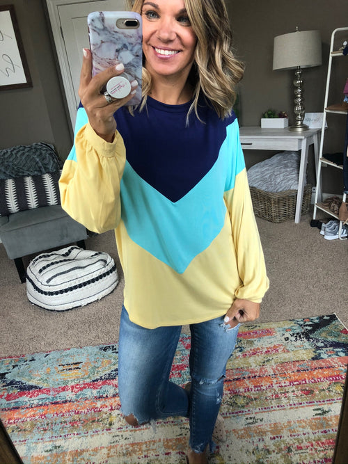 Did You Know Navy, Aqua and Yellow Colorblock Long Sleeve