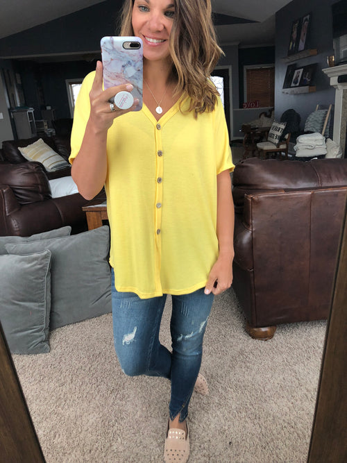 Well Traveled Waffle Front Tie Button Tee- Yellow